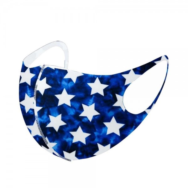 Stretchable Blue Star Print Face Mask.  - Non-Medical - Stretchy Design - No Filter - Helps Protect Against Particles - One size fits most Adults - 100% Polyester