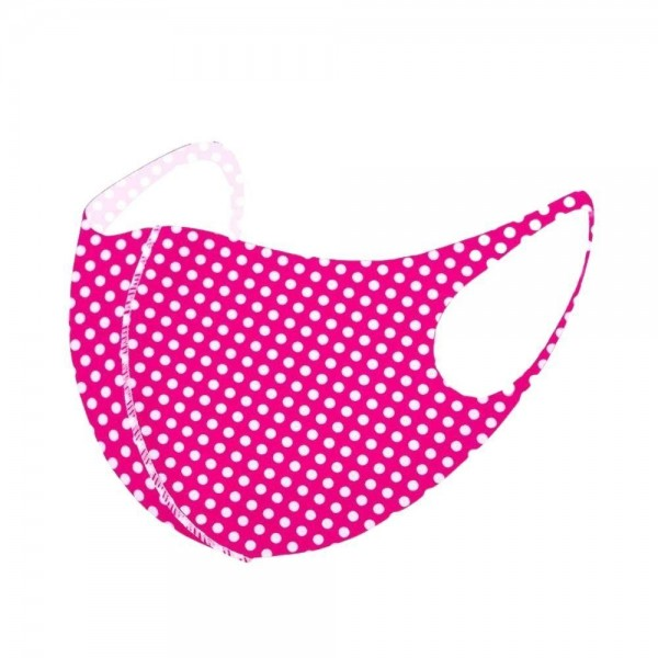 Stretchable Polka Dot Face Mask.  - Non-Medical - No Filter - Stretchable Design - Helps Protect Against Particles - One size fits most Adults - 100% Polyester