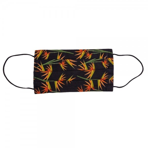 Black Birds of Paradise Pleated Cotton Face Mask.  - Non-Medical - Washable & Reusable - Filter Insert (Filter sold separately)** - Adjustable Nose Clip - Double Layered - 100% Cotton  *** ALL Sales Final Due to CDC Recommendations