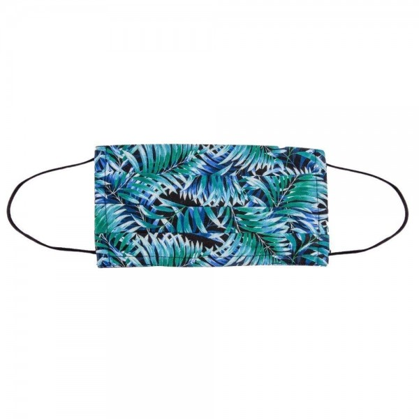 Blue Tropical Leaf Pleated Cotton Face Mask.  - Non-Medical - Washable & Reusable - Filter Insert (Filter sold separately)** - Adjustable Nose Clip - Double Layered - 100% Cotton  *** ALL Sales Final Due to CDC Recommendations