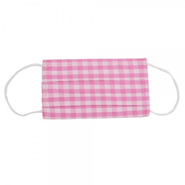 Checkered Pleated Cotton Face Mask.  - Non-Medical - Washable & Reusable  - Filter Pocket - No Filter* - Adjustable Nose Piece - 100% Cotton & Elastic  *** ALL Sales Final Due to CDC Recommendations