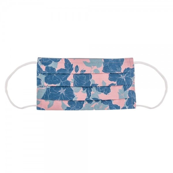 Pink & Blue Floral Print Cotton Face Mask.  - Non-Medical - Washable & Reusable - Filter Pocket - No Filter* - Helps Protect Against Particles - One size fits more Adults - 100% Cotton & Elastic  *** ALL Sales Final Due to CDC Recommendations
