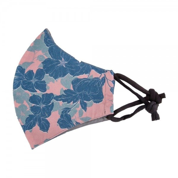 Adjustable Pink & Blue Floral Print Face Mask.  - Non-Medical - Washable & Reusable  - Filter Pocket - No Filter* - Adjustable Ear Loops - Helps Protect Against Particles - One size fits most Adults