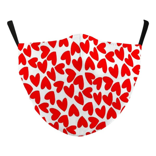 Non-Medical Valentine Holiday Print Adjustable Face Mask Featuring Filter Insert.  - Non-Medical - Filter Insert  - Filter Sold Separately** - Adjustable Ear Loops - Helps Protect Against Particles  - Washable & Reusable  - One size fits most  - Material: Cotton & Elastic