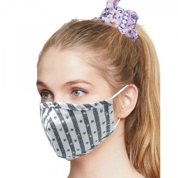 Do everything in Love Brand Adjustable Lightweight Star Striped Face Mask.  - Lightweight Breathable Material - Non-Medical - Filter Pocket - Filter NOT Included - Adjustable Ear Loops - Helps Protect Against Particles - Cotton & Elastic