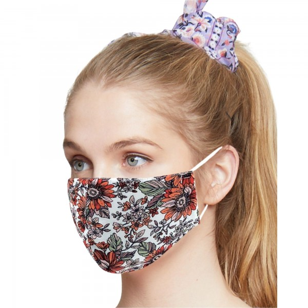 Do everything in Love Brand Adjustable Lightweight Floral Print Face Mask.  - Lightweight Breathable Material - Non-Medical - Filter Pocket - Filter Not Included - Adjustable Ear Loops - Helps Protect Against Particles - Cotton & Elastic