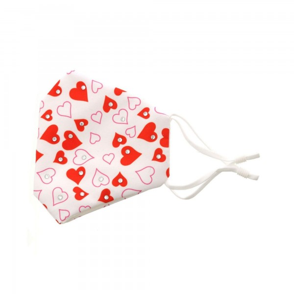 Adjustable Valentine's Day Bling Face Mask with Filter Pocket.  - Non-Medical  - Valentine Heart Print - Filter Pocket - Filter NOT* Included - Adjustable Ear Loops - Adjustable Nose Clip - Cotton & Elastic Material