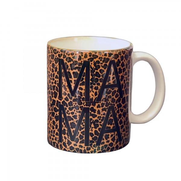 """Mama"" Leopard Print Ceramic Mug.   - Holds up to 8 fl oz"