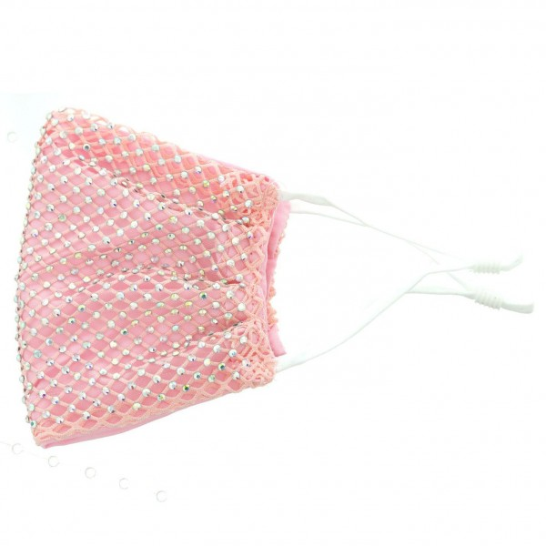 Cloth Facemask Featuring Rhinestone Adorned Mesh Details.   - Adjustable Ear Loops  - 50% Cotton, 50% Polyester  - Helps Protect Against Particles - Lightweight Breathable Materials  - One Size Fits Most Adults