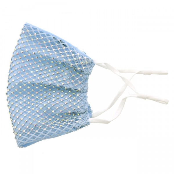 Cloth Facemask Featuring Rhinestone Adorned Mesh Details.   - Adjustable Ear Loops  - 50% Cotton, 50% Polyester  - Helps Protect Against Particles - Lightweight Breathable Materials  - One Size Fits Most Adults  *** ALL Sales Final Due to CDC Recommendations