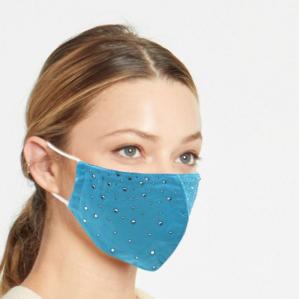 Do everything in Love Brand Adjustable Rhinestone Fashion Face Mask.  - Adjustable Ear Loops - Washable & Reusable - Non-Medical - Filter Insert - Filter Sold Separately*** - Blocks against Sunlight / Dust / Etc - Wash After Each Use - One size fits most Adults  *** ALL Sales Final Due to CDC Recommendations