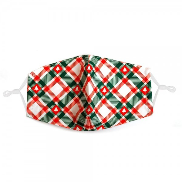 Adjustable Plaid Print Christmas Mask with Filter Insert.  - Adjustable Ear Loops - Washable & Reusable - Non-Medical - Filter Insert - Filter Sold Separately*** - Blocks against Sunlight / Dust / Etc - Wash After Each Use - One size fits most Adults  *** ALL Sales Final Due to CDC Recommendations