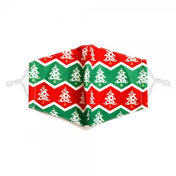 Adjustable Christmas Tree Print Mask with Filter Insert.  - Adjustable Ear Loops - Washable & Reusable - Non-Medical - Filter Insert - Filter Sold Separately*** - Blocks against Sunlight / Dust / Etc - Wash After Each Use - One size fits most Adults  *** ALL Sales Final Due to CDC Recommendations