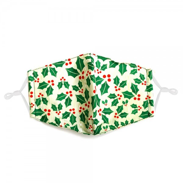 Adjustable Christmas Holly Mask with Filter Insert.  - Adjustable Ear Loops - Washable & Reusable - Non-Medical - Filter Insert - Filter Sold Separately*** - Blocks against Sunlight / Dust / Etc - Wash After Each Use - One size fits most Adults  *** ALL Sales Final Due to CDC Recommendations