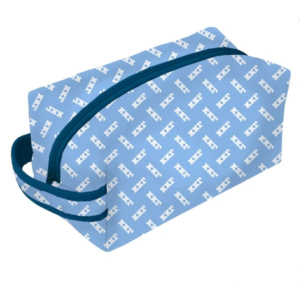 Neoprene Zipper Bag-Kappa Kappa Gamma. This zipper bag includes a convenient carrying handle and may be used for cosmetics, brushes or any personal items. Machine washable.