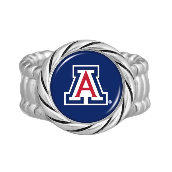 Officially licensed Arizona silver tone stretch band ring.