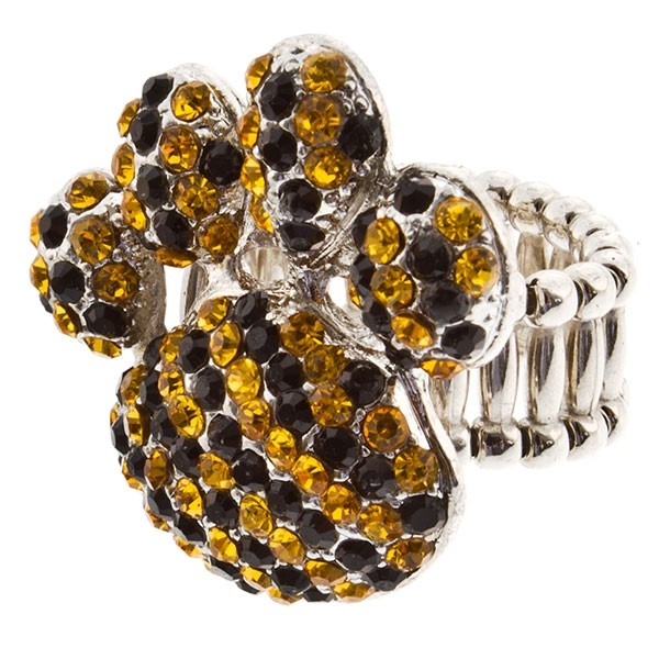 "Silver tone stretch ring topped with a 1 1/2"" paw encrusted with yellow and black rhinestones."