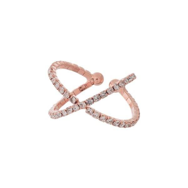 Wholesale rhinestone Criss Cross Fashion Ring One fits most Adjustable