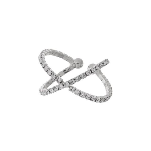 Criss-cross, adjustable ring with clear rhinestones.