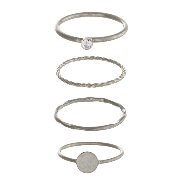 Wholesale dainty metal ring set four texturized rings cubic zirconia details sil