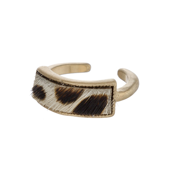 Wholesale faux fur animal print encased metal ring One Fits up ring