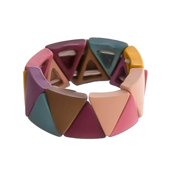 Triangle color block stretch ring.   - One size fits most  - Fits up to a size 8 ring