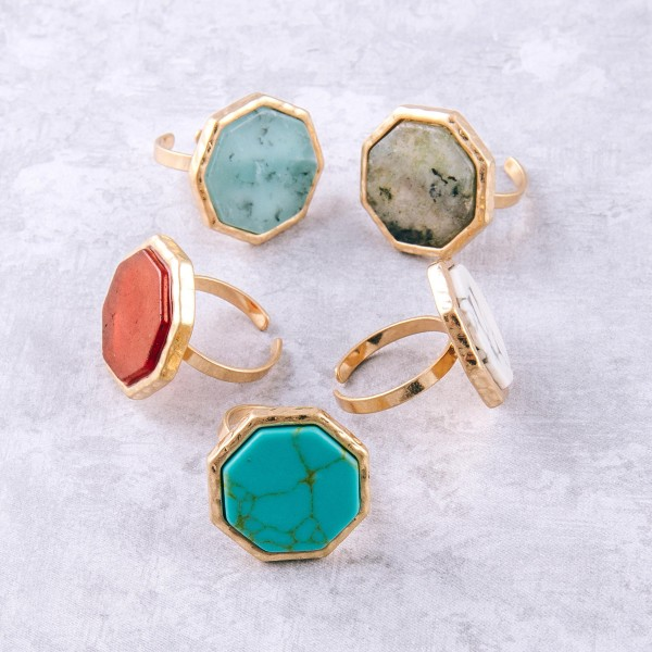 """Adjustable octagon natural stone ring.  - Adjustable band  - Fits up to a size 8 ring - Approximately .75"""" in diameter"""
