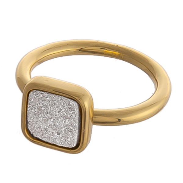 Adjustable gold square druzy ring.  - Adjustable open band - Fits up to a size 9 ring