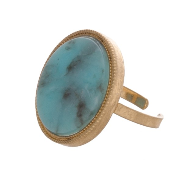 """Adjustable round natural stone ring.  - Adjustable band - Fits up to a size 8 ring - Approximately .75"""" in diameter"""