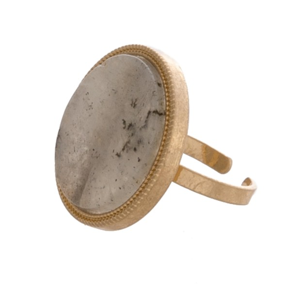 Wholesale adjustable round natural stone ring Adjustable band Fits up ring diame