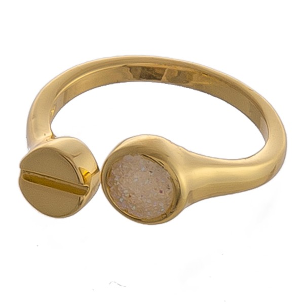 Adjustable gold druzy finger cuff ring.  - Adjustable band - Fits up to a size 9 ring
