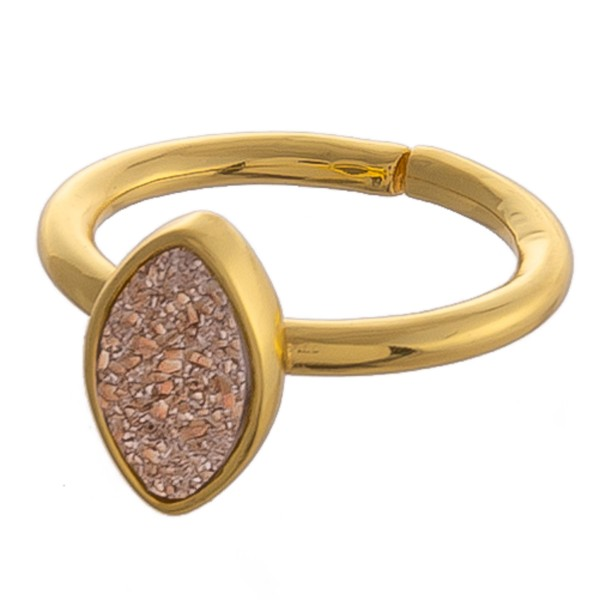Adjustable gold pointed oval druzy ring.  - Adjustable open band - Fits up to a size 9 ring