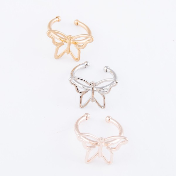 Brass Metal Butterfly Cuff Ring.  - One size fits most - Fits up to a size 7 ring