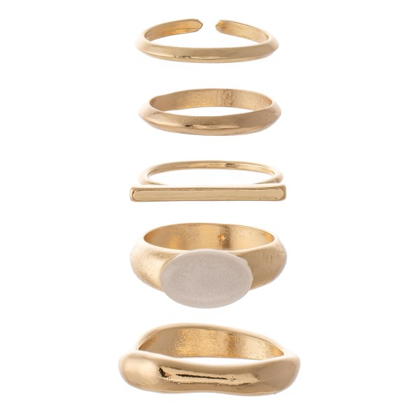 Modern Style Stacking Knuckle Ring Set.  - 5 rings per set - Fits up to a size 7 ring