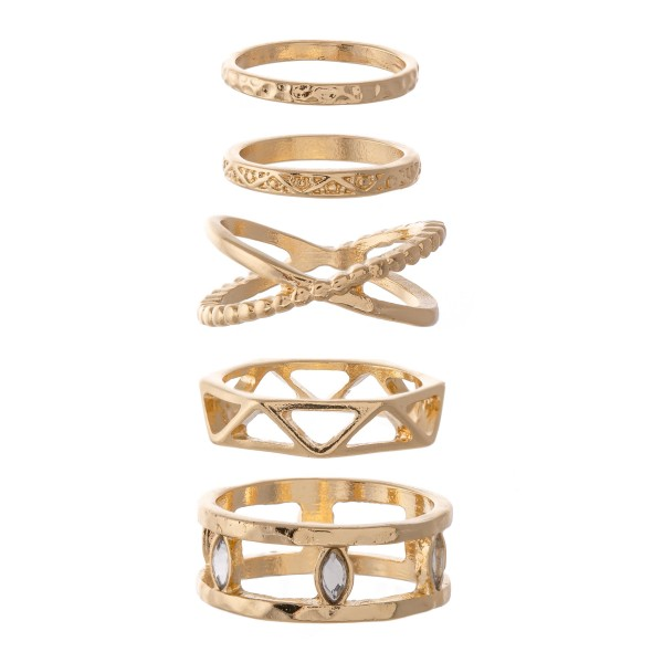 Textured Boho Stacking Knuckle Ring Set.  - 5 rings per set - Fits up to a size 7 ring