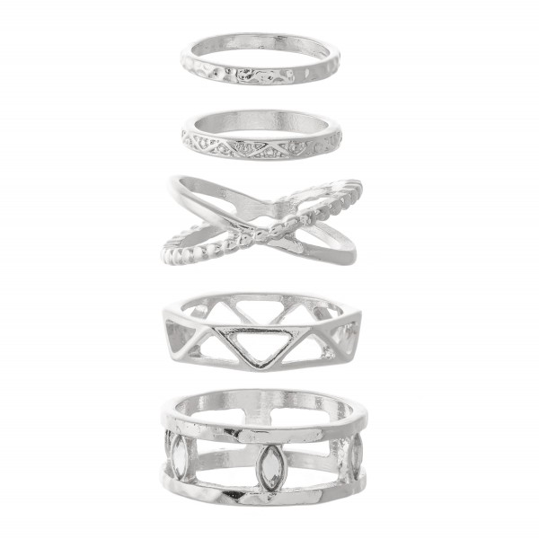 Wholesale textured Boho Stacking Knuckle Ring Set rings per set Fits up ring