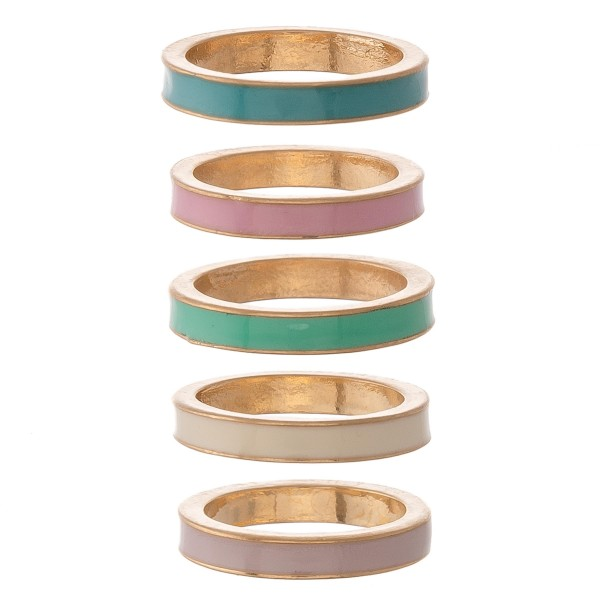 """Multicolor enamel coated ring set.  - 5pcs/set - Approximately .75"""" in diameter - Fits up to a size 7.5 ring"""