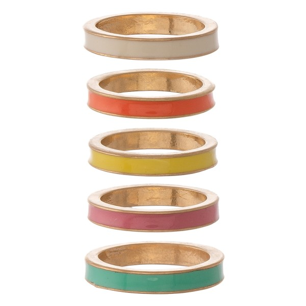 "Multicolor enamel coated ring set.  - 5pcs/set - Approximately .75"" in diameter - Fits up to a size 7.5 ring"