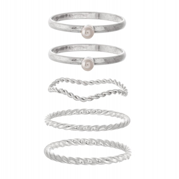 Texturized Stud Pearl Stacking Knuckle Ring Set.  - 5 rings per set - Fits up to a size 7 ring