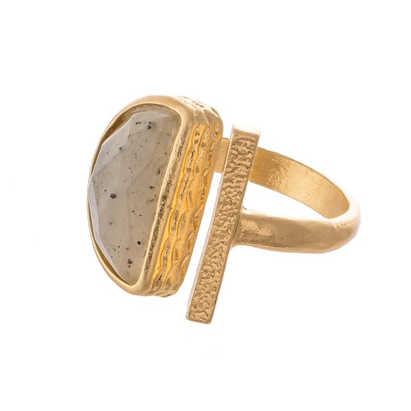 Semi Precious Open Bar Stone Fashion Ring.  - One size fits most - Adjustable Open Band