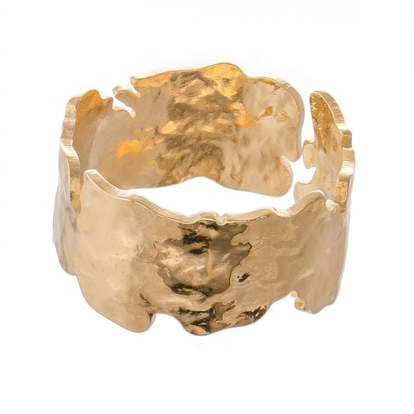 Adjustable Brass Nugget Cut Cuff Ring.  - Fits Approximately Ring Size 7.5 - 8.5