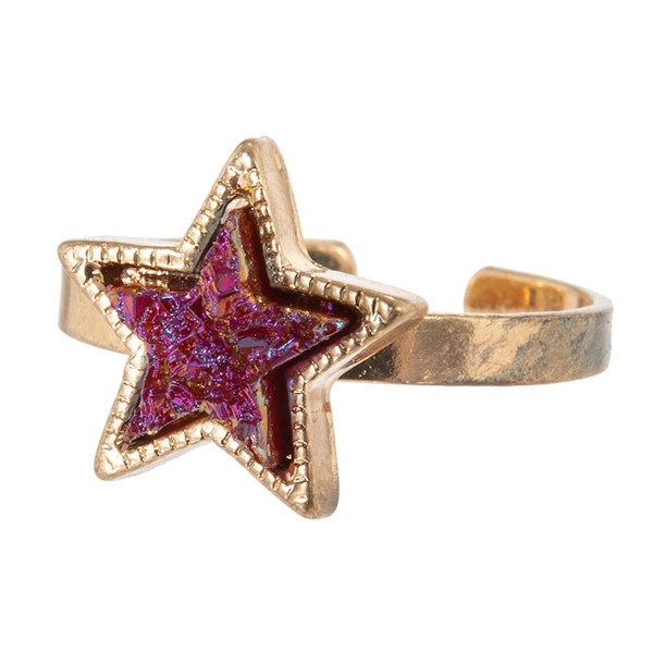Wholesale druzy Star Ring One fits most Adjustable Band