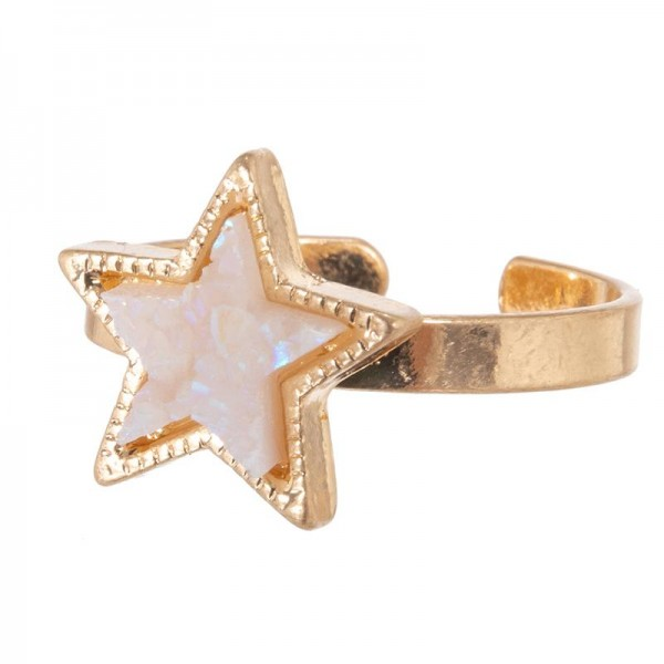 Druzy Star Ring.  - One size fits most  - Adjustable Band