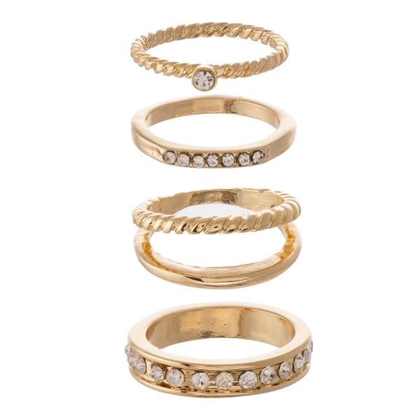 Wholesale rhinestone Ring Set Gold One fits most Rings Per Set