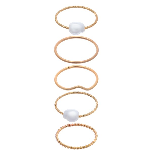 Baroque Pearl Ring Set in Gold.  - One size fits most  - 5 Rings Per Set