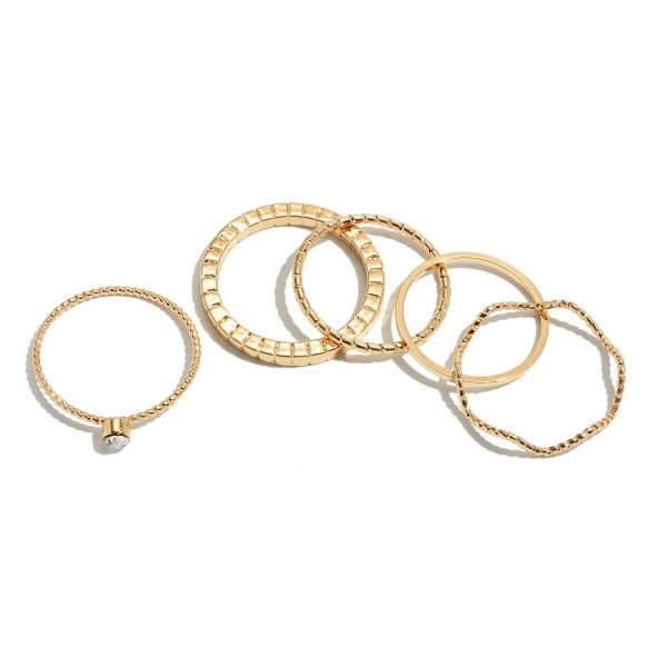 5 PC Simple Knuckle Band Ring Set in Gold.  - One size fits most  - 5 Pc Per Set