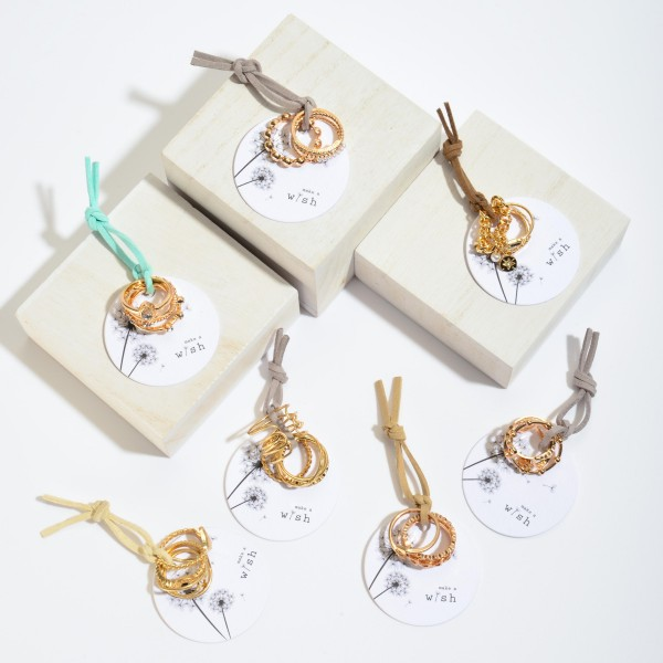 5 PC Rhinestone Decor Knuckle Ring Set in Gold.  - 5 PC Per Set - One size fits most