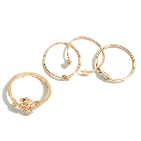 4 PC Textured Rhinestone Star Decor Ring Set in Gold.  - 4 PC Per Set - One size fits most