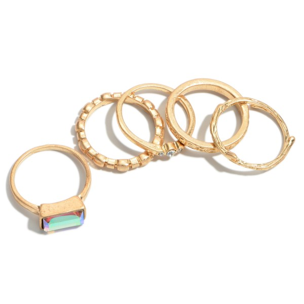 5 PC Textured Abalone Decor Knuckle Ring Set in Gold.  - 5 PC Per Set - One size fits most