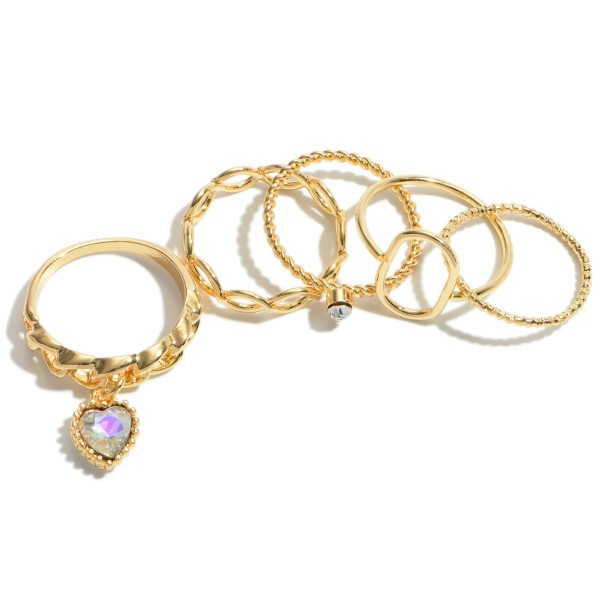 5 PC Textured Heart Decor Knuckle Ring Set in Gold.  - 5 PC Per Set - One size fits most